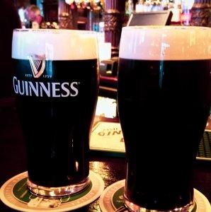 Ireland Dublin two pints of Guinness on pub bar