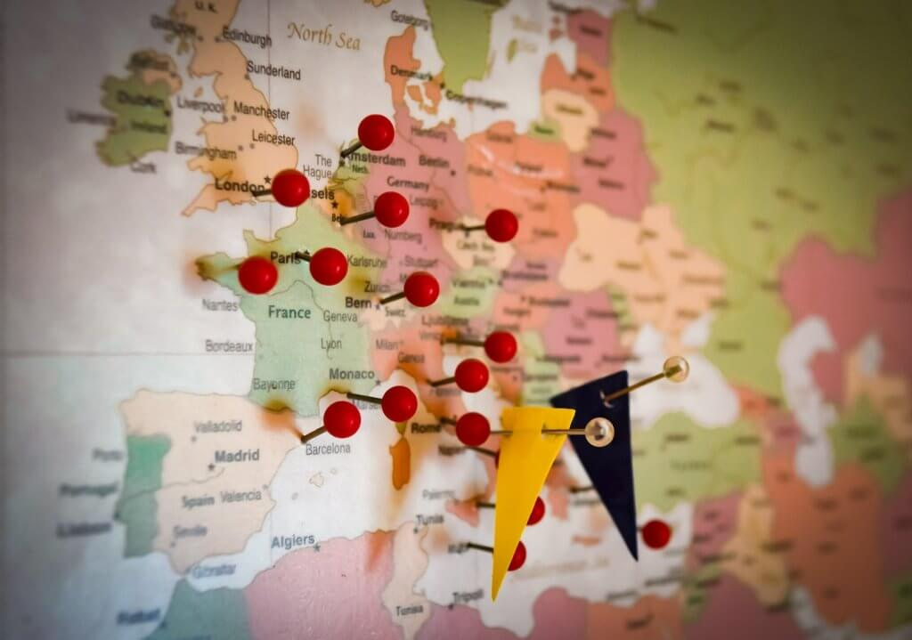 Europe map destination planning with pins