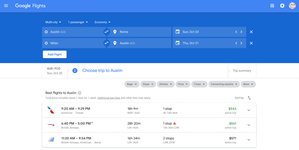 flight search for the best airfare from Austin