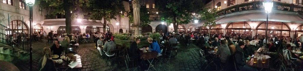 Munich Hofbräuhaus Biergarten at night