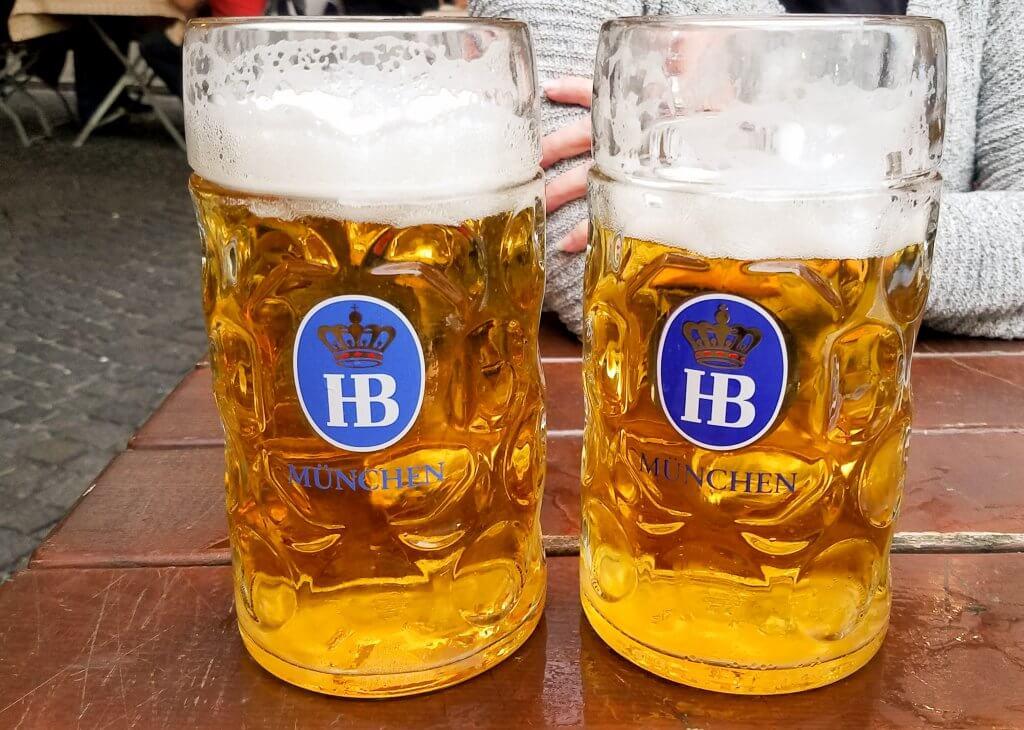 Munich Germany Hofbrau Beer liters in biergarten