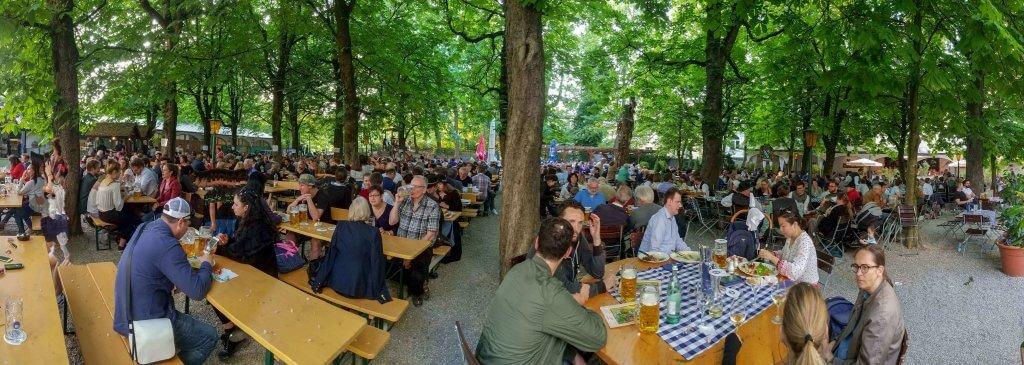 Munich Germany Hofbraukeller Biergarten full on a spring day