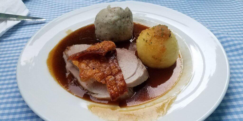 Munich Germany Lowenbrau dinner plate pork with dumplings