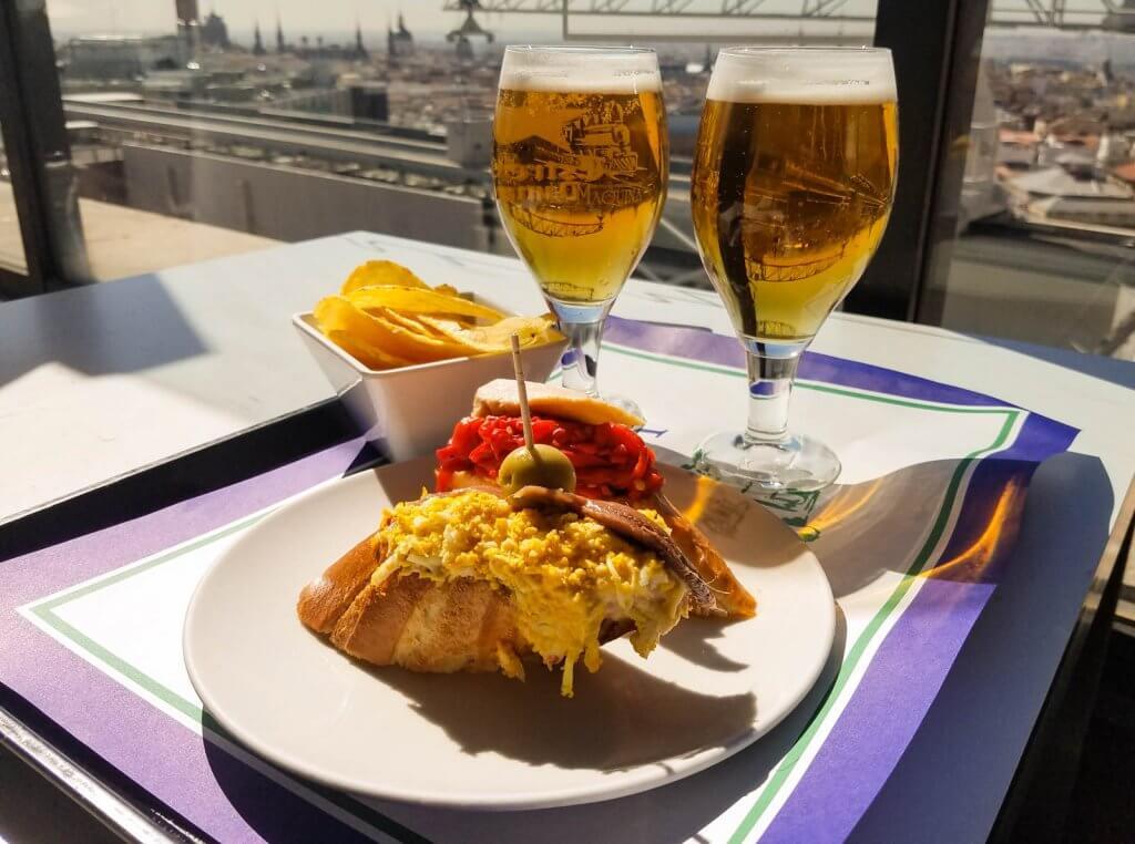 Madrid Spain El Corte Ingles Rooftop Terrace Tapas and Beer