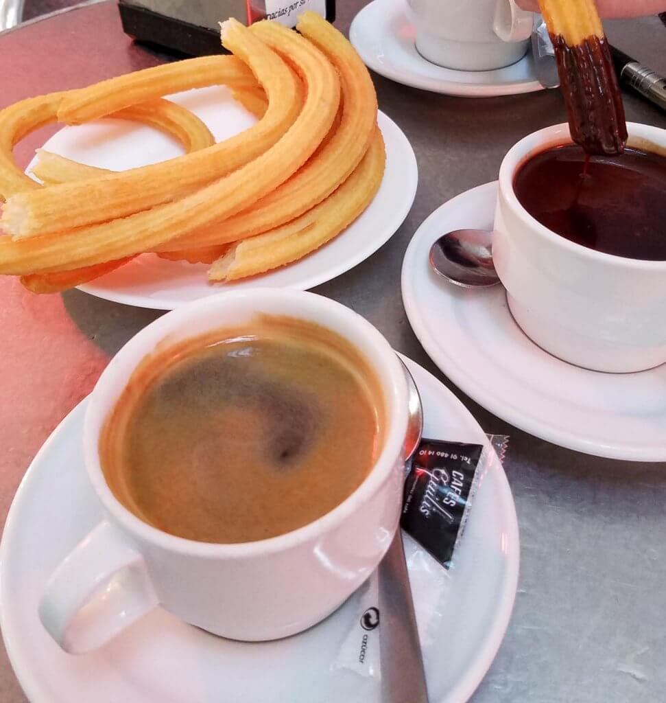 Madrid Spain Churros Chocolate Coffee San Gines