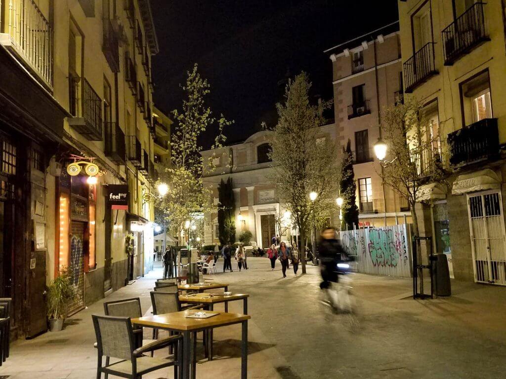 Madrid Spain Street Night Cafe Tables