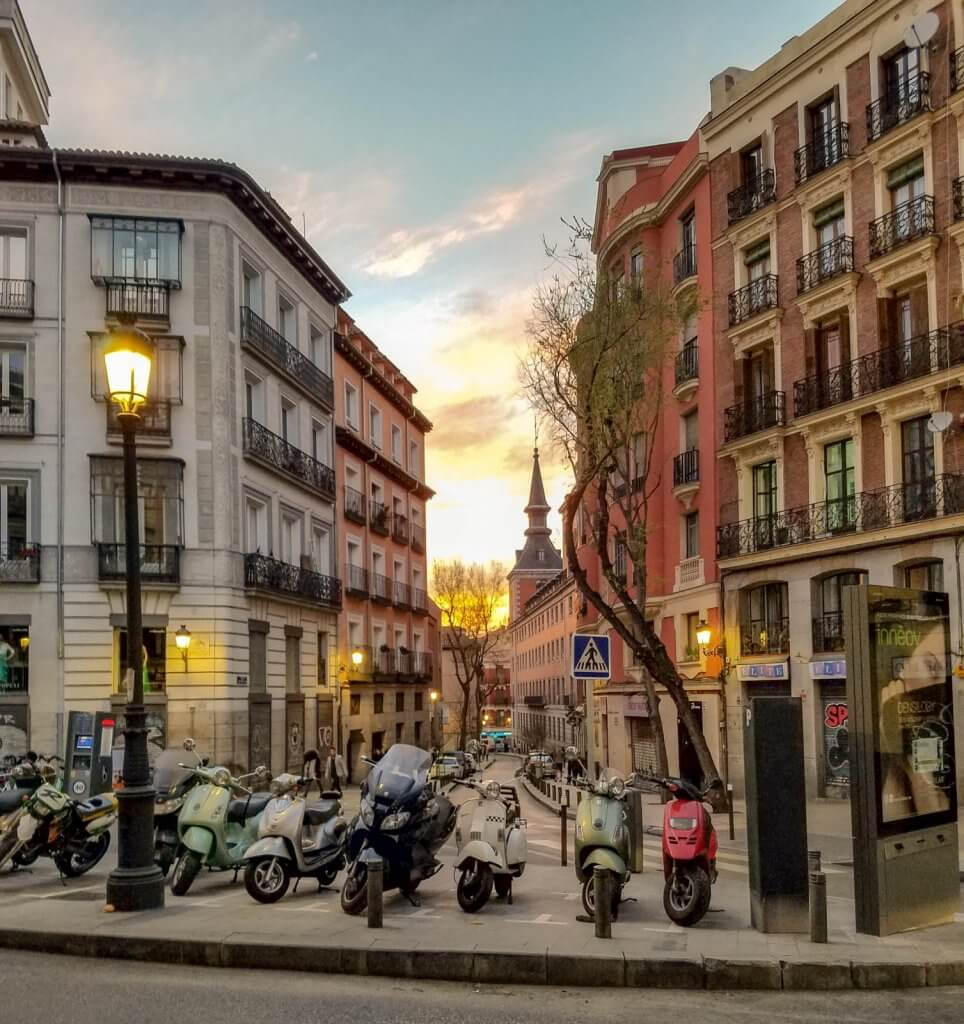 Madrid Spain Street Mopeds Sunset
