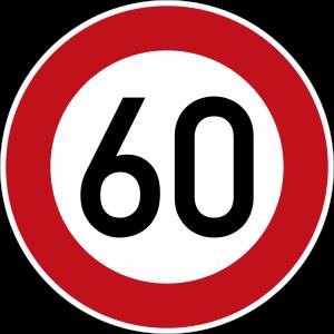 Germany start maximum speed limit 60 sign