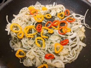 marinated zucchini recipe onions and peppers in pan