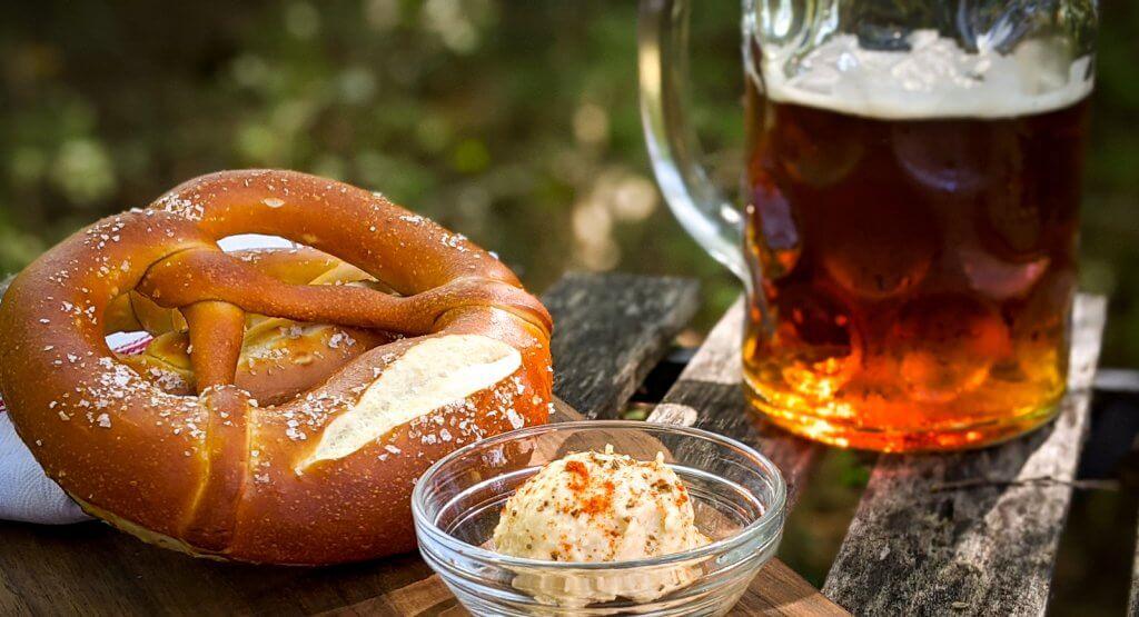 Ryan Biergarten pretzel obatzda and beer