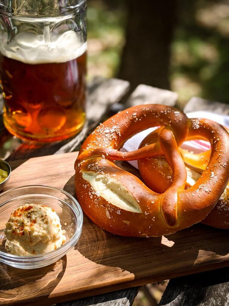 Biergarten pretzel obatzda and beer