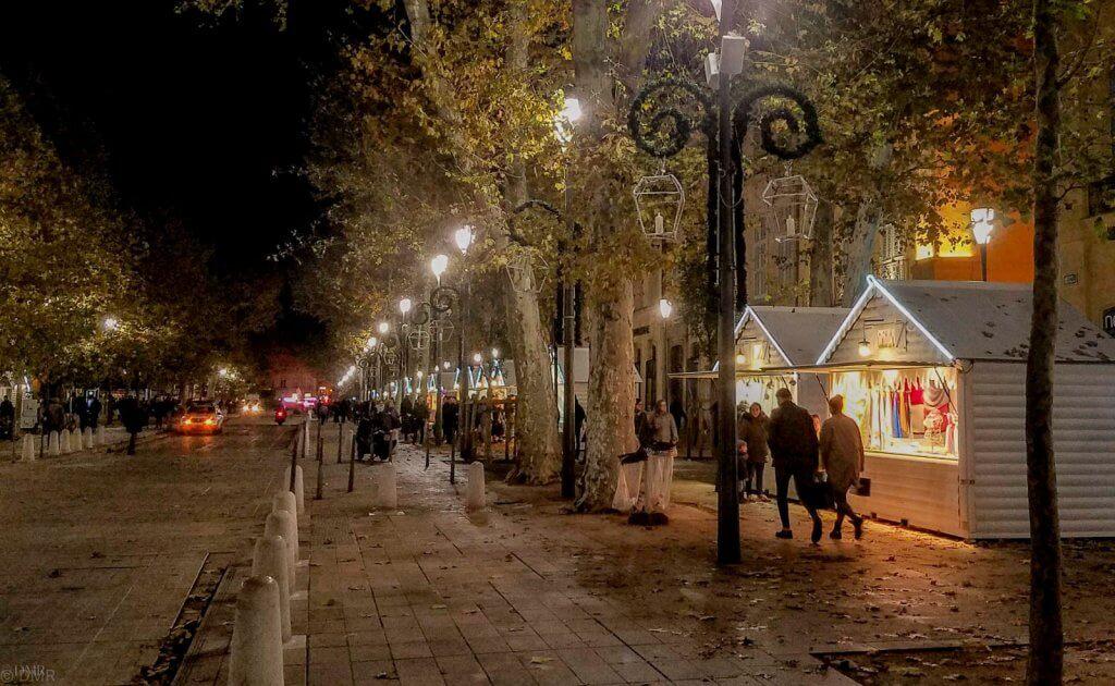 France Aix-en-Provence christmas market at night