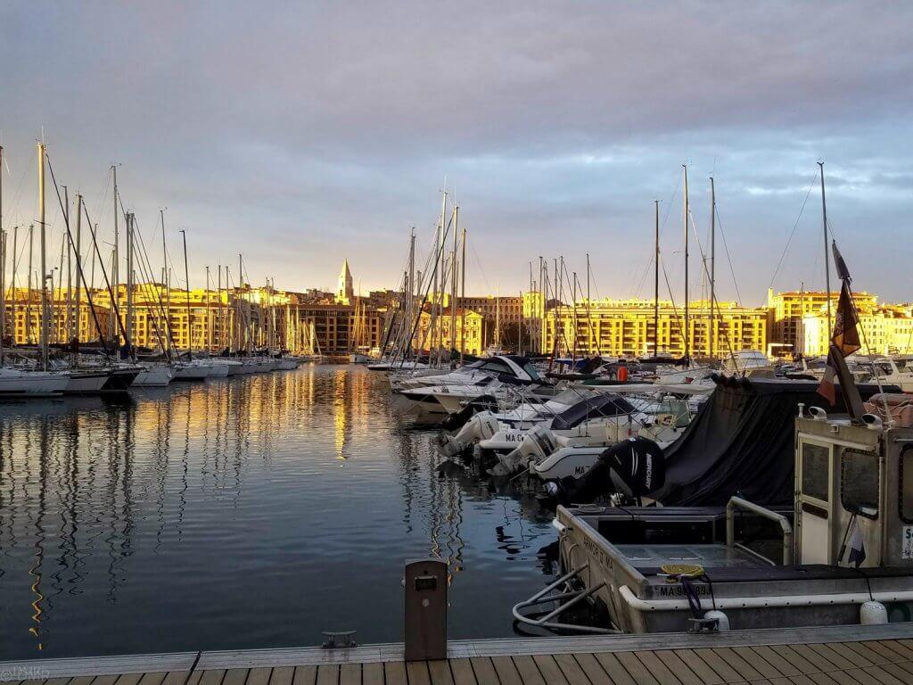 France, Marseille golden sunset Vieux Port boats