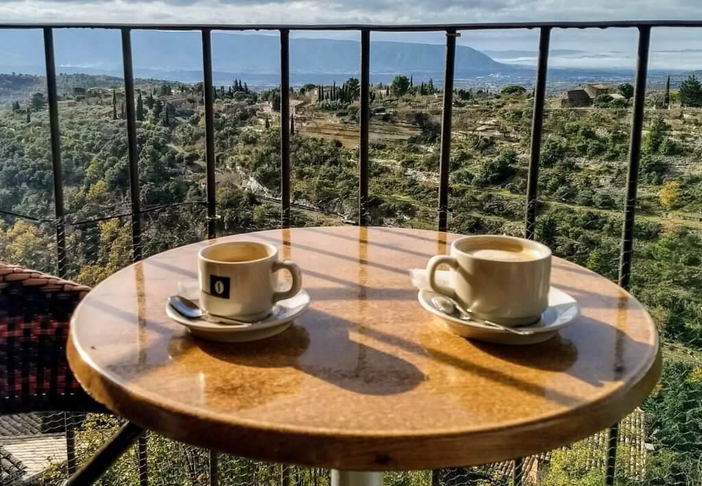 France-Provence Gordes Le Cercle Républicain cafe coffee overlooking valley