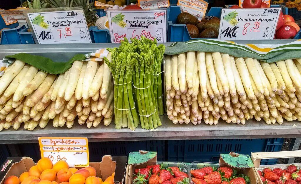 Germany Munich Viktualienmarkt Asparagus Spargel