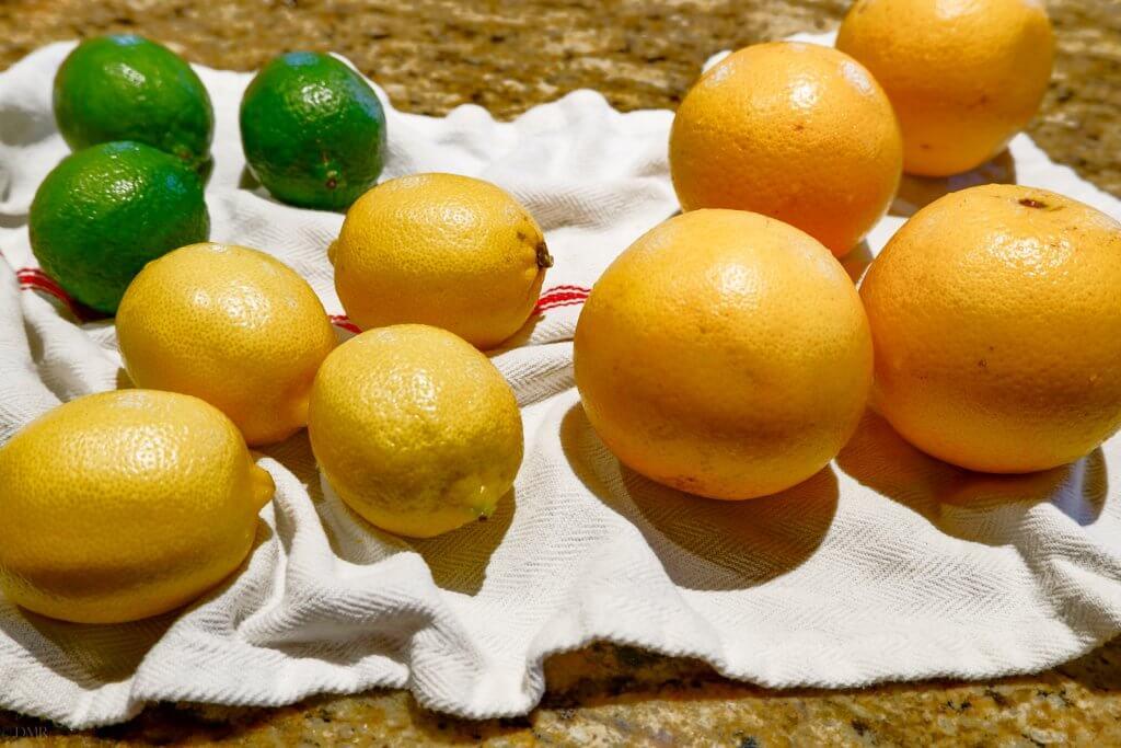 whole oranges, lemons and limes