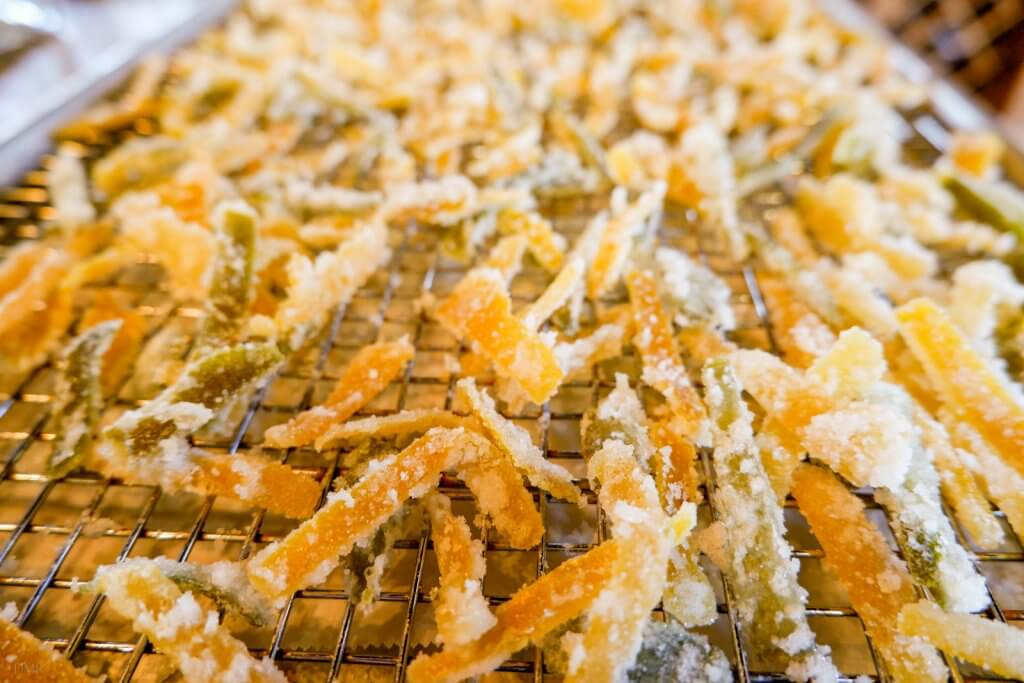 candied citrus peels on wire rack