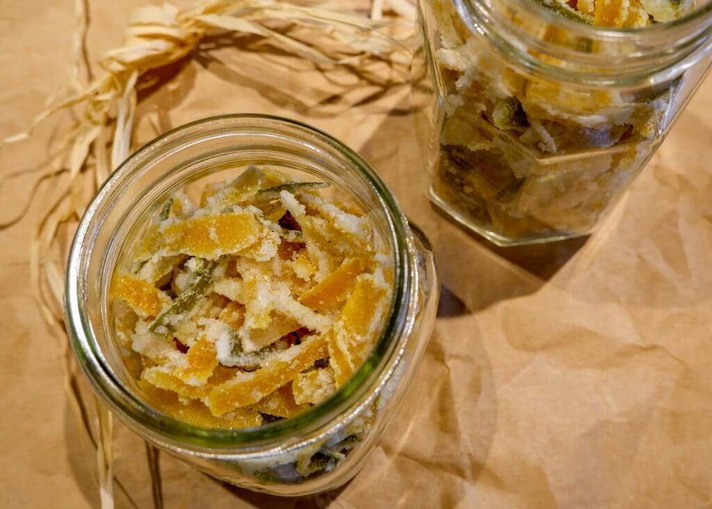 candied citrus peels in jars