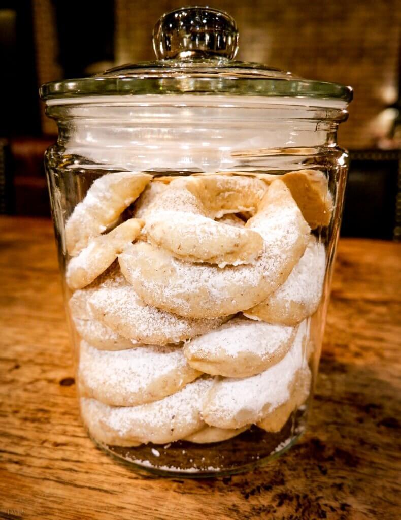 Vanillekipferl German crescent cookies in a jar