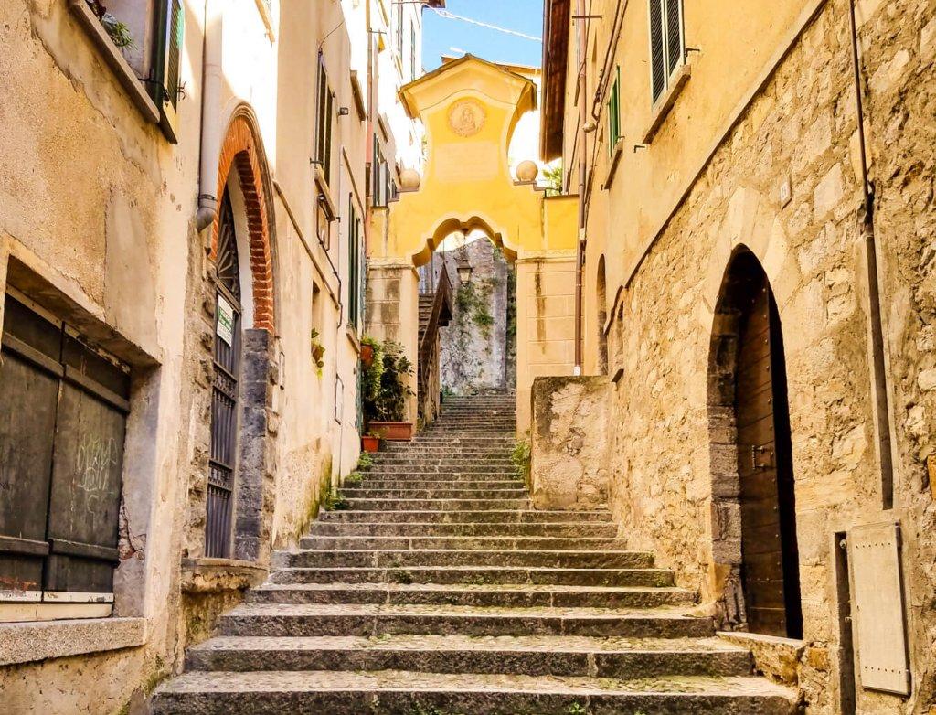 Lake Como Italy Bellano town cobblestone stepes