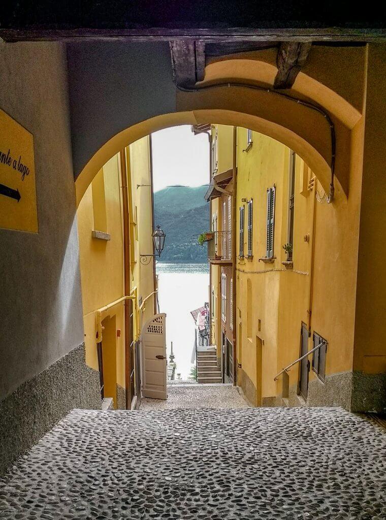 Lake Como Italy Varenna alley archway lake view