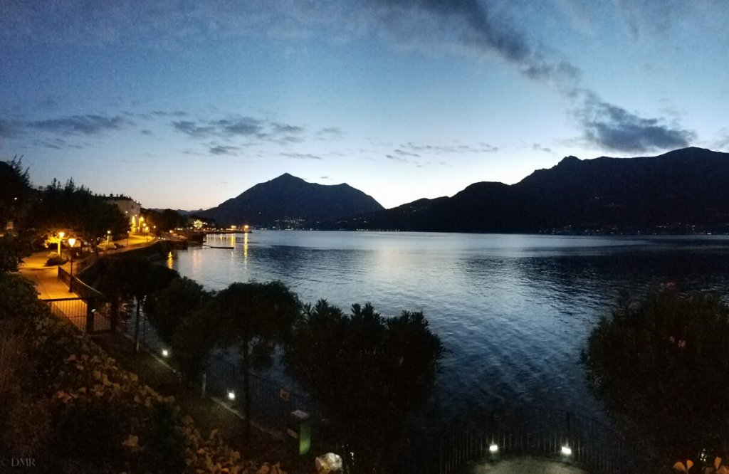 Lake Como Italy Bellano twilight pano
