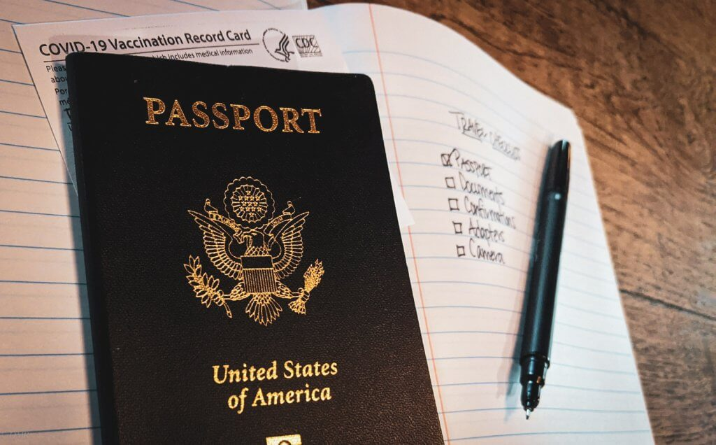 passport, cdc vaccination card, checklist